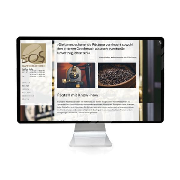 Website EOS Kaffeerösterei